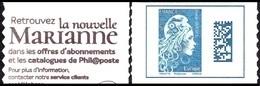 Autoadhésif(s) De France N° 1603,A ** Marianne L'Engagée.Datamatrix. Europe De Carnet - France