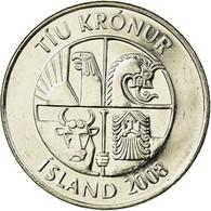 Monnaie, Iceland, 10 Kronur, 2008, TTB, Nickel Plated Steel, KM:29.1a - Islande