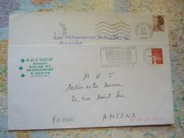 2 Flammes D'oblitération Mécaniques Différentes De L'Aisne Sur Lettres Entières 1988-2002 - Marcophilie (Lettres)