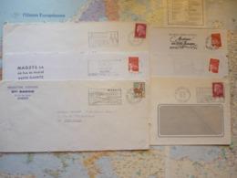6 Flammes D'oblitération Mécaniques Différentes Des Pyrénées Atlantiques Sur Lettres Entières 1967-2002 - Marcophilie (Lettres)