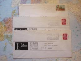 3 Flammes D'oblitération Mécaniques Différentes De Besançon Doubs Sur Lettres Entières 1969-1984 - Marcophilie (Lettres)