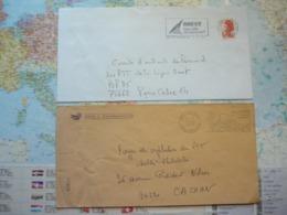 2 Flammes D'oblitération Mécaniques Différentes Du Finistère Sur Lettres Entières 1975-1988 - Marcophilie (Lettres)
