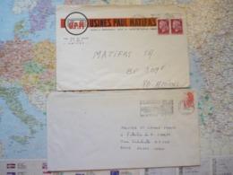 2 Flammes D'oblitération Mécaniques Différentes De La Marne Sur Lettres Entières 1975-1988 - Marcophilie (Lettres)