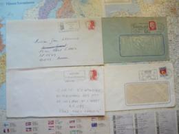 4 Flammes D'oblitération Mécaniques Différentes Des Hauts De Seine Sur Lettres Entières 1966-1989 - Marcophilie (Lettres)