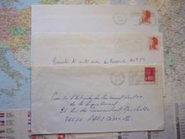 3 Flammes D'oblitération Mécaniques Différentes De Seine Et Marne Sur Lettres Entières 1975-1988 - Marcophilie (Lettres)