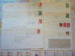 Lot De 8 Flammes D'oblitération Mécanique Du Nord Sur Lettres Entières 1968-2002 - Marcophilie (Lettres)