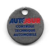 Jeton De Caddie  Ville, Automobile  AUTOSUR  CONTRÔLE  TECHNIQUE AUTOMOBILE  Verso  22100  DINAN - Trolley Token/Shopping Trolley Chip