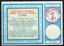 UNITED NATIONS UNIES NEW YORK Vi20 22 CENTS Int. Reply Coupon Reponse Antwortschein IRC O D2 1.1.71 FD! - Cartas