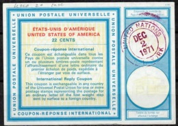 UNITED NATIONS UNIES NEW YORK Vi20 22 CENTS Int. Reply Coupon Reponse Antwortschein IRC O D2 2.12.71 - Cartas