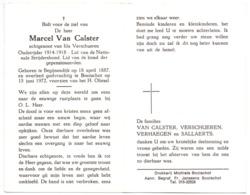 Devotie Doodsprentje Overlijden - Oudstrijder Marcel Van Calster - Begijnendijk 1887 - Booischot 1972 - Décès