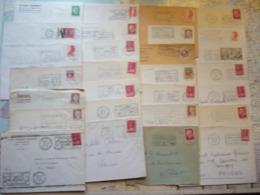 Lot De 106 Flammes D'oblitération Mécanique Différentes De Différents Départements Sur Lettres Entières 1962-1992 - Marcophilie (Lettres)