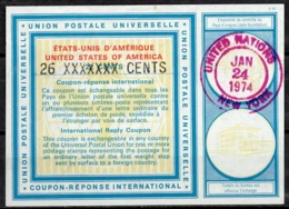 UNO UNITED NATIONS NEW YORK Vi20 26 XXXXXXX / 22 CENTS Int. Reply Coupon Reponse Antwortschein IAS IRC O D1 24.1.74 - Cartas