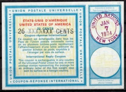UNITED NATIONS UNIES NEW YORK Vi20 26 / 22 CENTS Int. Reply Coupon Reponse Antwortschein IRC IAS O D2 7.1.74 FD! - Cartas