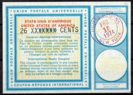 UNITED NATIONS UNIES NEW YORK Vi20 26 / 22 CENTS Int. Reply Coupon Reponse Antwortschein IRC IAS O D2 15.2.74 - Cartas