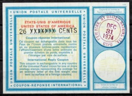UNITED NATIONS UNIES NEW YORK Vi20 26 / 22 CENTS Int. Reply Coupon Reponse Antwortschein IRC IAS O D3 31.12.74 LD! - Cartas