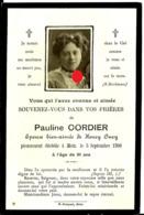 Faire-part Décès Mme  Pauline Cordier Henry Oury Metz Fontoy 17/21 - Décès