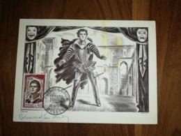 Carte Postale 'hommage A Gerard Phillipe' 1961 Avec Nombreux Autographes(6) Au Verso Et Timbre 1jour Et Numerotés - Autógrafos