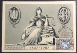 CM387-1 Cour Des Comptes Cent Cinquantenaire Premier Jour 1/6/1957 Carte Maximum 1107 - Cartas Máxima