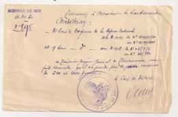 1920 NOTE BONS DE LA DEFENSE NATIONALE / CACHET MIDONCGY MADAGASCAR LE CHEF DE DISTRICT B1090 - Documents