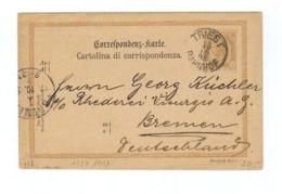 Österreich, 1889, Corresp.karte Mit Eingedr. 2 Kreuzer Frankatur, Stempel Triest-Bahnhof Und Bremen (12416W) - Stamped Stationery