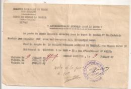 1947 AUTORISATION DE CIRCULER / SOCIETE NATIONALE  VENTES DE SURPLUS ( Americains?) DEPOT DE GIGNAC LA NERTHE  /  B1094 - Documents