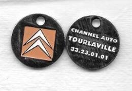 Jeton De Caddie  Ville, Automobile  Citroên  Verso  CHANNEL  AUTO  à  TOURLAVILLE  ( 50 ) - Trolley Token/Shopping Trolley Chip