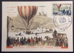 CM415-1 Arles Journée Du Timbre 19/3/1955 La Poste Par Ballon Carte Maximum 1018 - Cartas Máxima