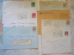 Lot De 7 Flammes D'oblitération Mécanique Différentes Du Val D'Oise Sur Lettres Entières 1967-1976 - Marcophilie (Lettres)