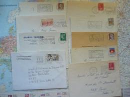 Lot De 9 Flammes D'oblitération Mécanique Différentes Du Val De Marne Sur Lettres Entières 1964-1988 - Marcophilie (Lettres)