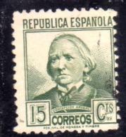 SPAIN ESPAÑA SPAGNA 1935 CONCEPTION ARENAL CENT. 15c USED USATO OBLITERE' - 1931-50 Oblitérés