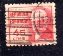 SPAIN ESPAÑA SPAGNA 1936 1938 PABLO IGLESIAS CENT. 45c USED USATO OBLITERE' - 1931-Aujourd'hui: II. République - ....Juan Carlos I