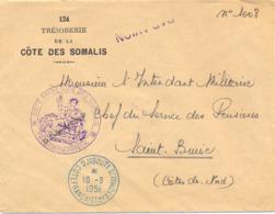 COTE FRANÇAISE DES SOMALIS TàD BLEU DJIBOUTI Du 10-3-1951 - Covers & Documents