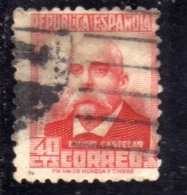 SPAIN ESPAÑA SPAGNA 1936 1938 EMILIO CASTELAR CENT. 40c USED USATO OBLITERE' - 1931-Tegenwoordig: 2de Rep. - ...Juan Carlos I