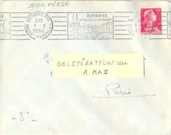 BAYONNE PPAL BASSES-PYRENEES OMec RBV Du 1er MAI JOUR FÉRIÉ 1956 BAYONNE / SES MUSÉES - LE PAYS BASQUE - Oblitérations Mécaniques (flammes)