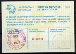 UNITED NATIONS UNIES NEW YORK La22A 26 CENTS Int. Reply Coupon Reponse Antwortschein IRC IAS O D3 24.10.75 - Cartas