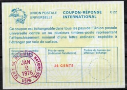 UNITED NATIONS UNIES NEW YORK La22A 26 CENTS Int. Reply Coupon Reponse Antwortschein IRC IAS O D3 2.1.76 LD! - Cartas