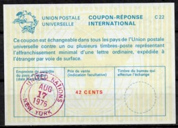 UNITED NATIONS UNIES NEW YORK La22A 42 CENTS Int. Reply Coupon Reponse Antwortschein IRC IAS O D2 17.8.76 - Cartas