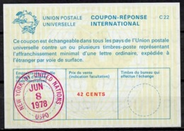 UNITED NATIONS UNIES NEW YORK La22A 42 CENTS Int. Reply Coupon Reponse Antwortschein IRC IAS O D4 8.6.78 FD! - Cartas