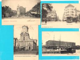 Lot De 4 CPA BRUXELLES Animées ( Tram Bateaux Marché ... ) - Circulées Avant 1905 - 2 Scans - Belgio