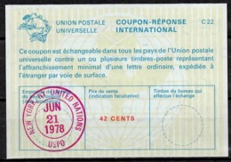 UNITED NATIONS UNIES NEW YORK La22A 42 CENTS Int. Reply Coupon Reponse Antwortschein IRC IAS O D4 21.6.78 - Cartas