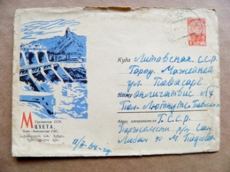 Postal Stationery Cover Ussr Georgia Mtskheta Hydro Hydroelectric Dam - Georgië