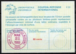 UNITED NATIONS UNIES NEW YORK La25A 80 Cents International Reply Coupon Reponse Antwortschein IRC IAS O D4 31.3.88 LD - Cartas