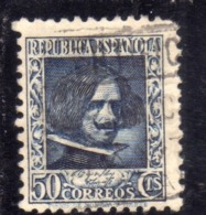 SPAIN ESPAÑA SPAGNA 1936 1938 VELAZQUEZ CENT. 50c USED USATO OBLITERE' - 1931-Aujourd'hui: II. République - ....Juan Carlos I