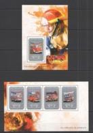 RR433 2014 GUINEE GUINEA TRANSPORT FIRE TRUCK VEHICULES DE POMPIERS KB+BL MNH - Trucks
