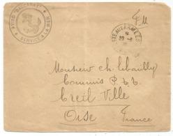 LETTRE POSTE AUX ARMEES 600 20.3.1928 + AVISO BACCARAT SERVICE DE LA MER - Postmark Collection (Covers)