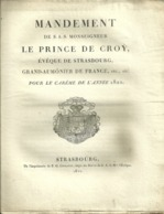 67 STRASBOURG MANDEMENT 1822 MONSEIGNEUR LE PRINCE DE CROY EVEQUE GRAND AUMONIER DE FRANCE CAREME - Religion & Esotérisme