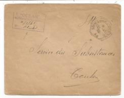 LETTRE FM C. HEX PERLE CUIRASSE L'OCEAN 12.1.1941 + GRIFFE SECRETARIAT OCEAN - Postmark Collection (Covers)