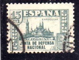 SPAIN ESPAÑA SPAGNA 1936 CATHEDRAL DEL PILAR ZARAGOZA JUNTA DE DEFENSA NATIONAL CENT. 15c USED USATO OBLITERE' - 1931-50 Gebraucht