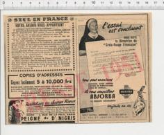 Publicité 1951 Couche Absorba Directrice Croix-Rouge Française Peigne Du Dr Nigris Rue De La Paix Paris Banania 226CH20 - Sin Clasificación