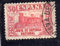 SPAIN ESPAÑA SPAGNA 1936 XAVIER CASTLE NAVARRE JUNTA DE DEFENSA NATIONAL CENT. 30c USED USATO OBLITERE' - 1931-50 Gebraucht